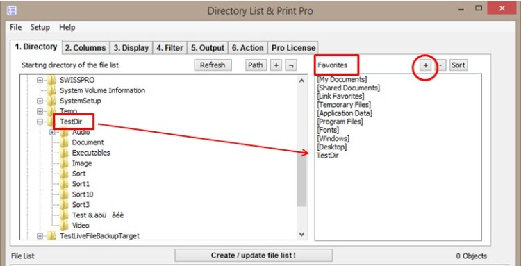 Create your favorite directories to list and print