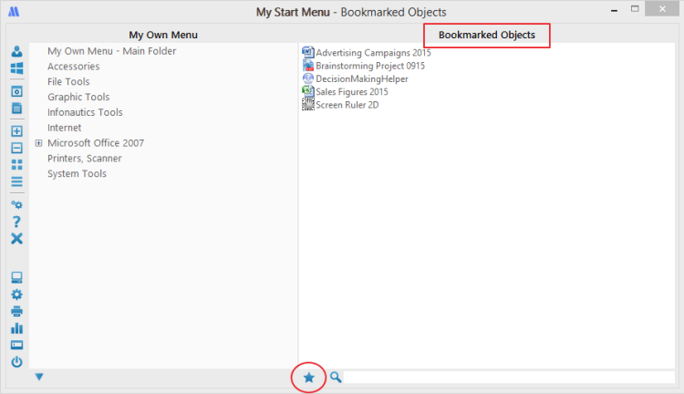 Bookmarks in My Start Menu for Windows
