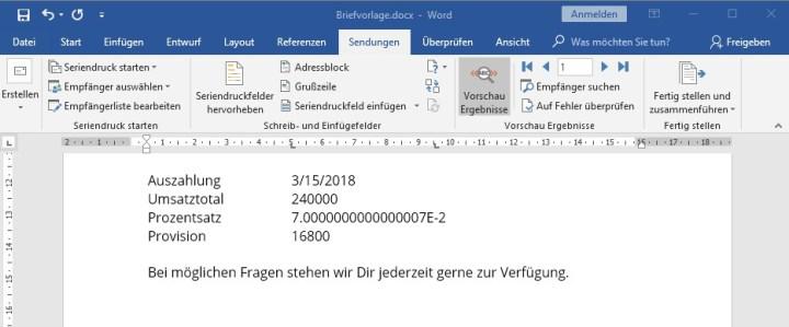 Falsches Zahlenformat im Serienbrief