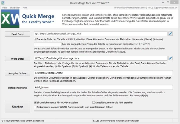 Quick Merge für Excel™+Word™