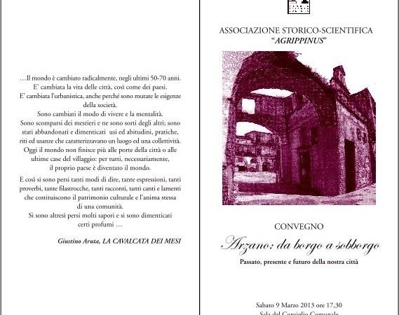 """Associazione Agrippinus, sabato 9 marzo convegno-dibattito """"Arzano: da borgo a sobborgo"""""""