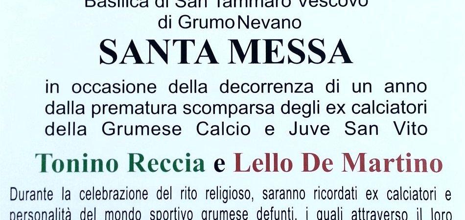 Grumo Nevano, tutti riuniti in ricordo di due calciatori grumesi: Tonino Reccia e Lello De Martino