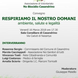 Casandrino, Respiriamo il nostro domani. Focus sull'ambiente organizzato dall'associazione 'No Biocidio Casandrino'
