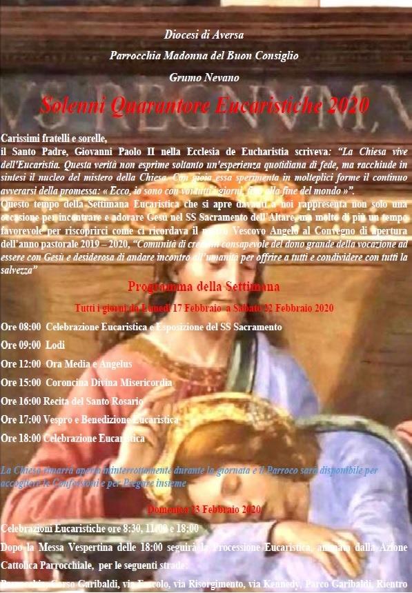 settimana eucaristica parrocchia madonna del buon consiglio grumo nevano