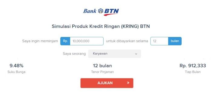 Simulasi Pinjaman Kredit Ringan Bank BTN