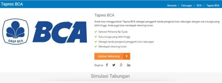 Tabungan Tapres Bank BCA
