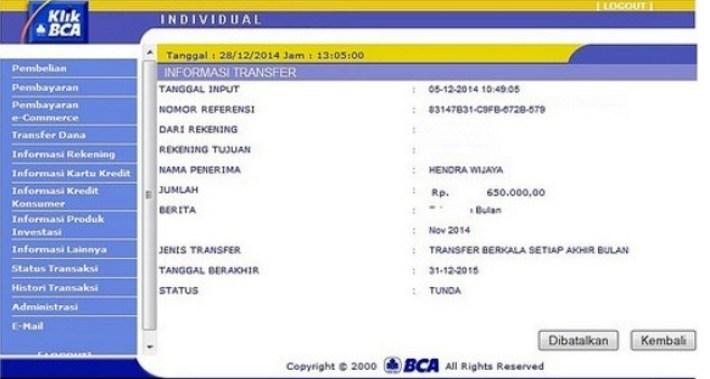 Transfer BCA ke Mandiri