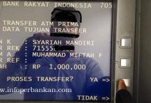 Cara Transfer dari BRI ke BSM lewat ATM BRI
