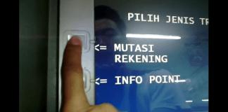 Cek Mutasi Rekening BRI lewat ATM