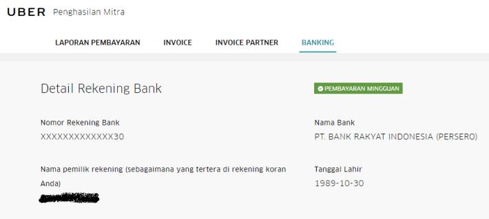Memasukan Rekening Bank pada Uber