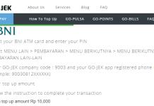Isi Saldo Go Pay Minimal Rp10.000 lewat ATM BNI