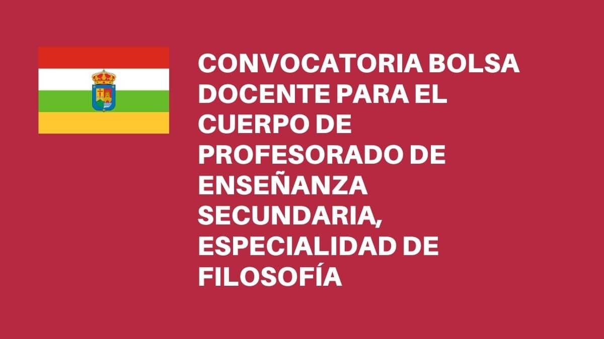 Convocada bolsa de profesores/as de secundaria en La Rioja: Filosofía