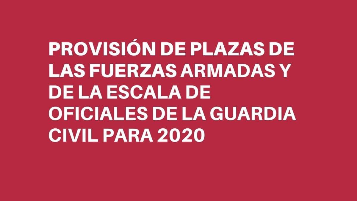 REAL DECRETO por el que se aprueba la provisión de plazas de las Fuerzas Armadas y de la Escala de Oficiales de la Guardia Civil para el año 2020.