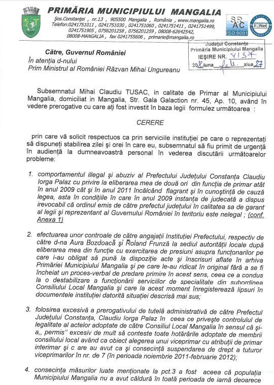 Scrisoarea Primarului Mangaliei Claudiu Tusac pentru audienta la Prim Ministru