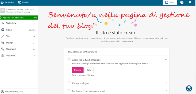 gestione sito back office