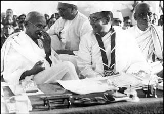 NSC Bose with Mahatma Gandhi