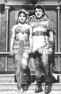 SSR with J Jayalalitha in Manimagudam Movie