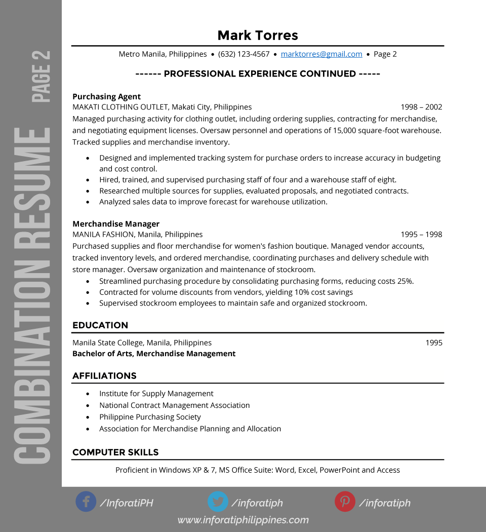 combination resume types by format page 2