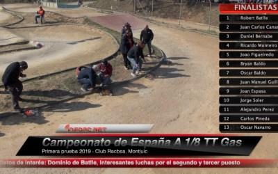 Video - Final comentada del Nacional A 1/8 TT Gas 2019 en Montjuic