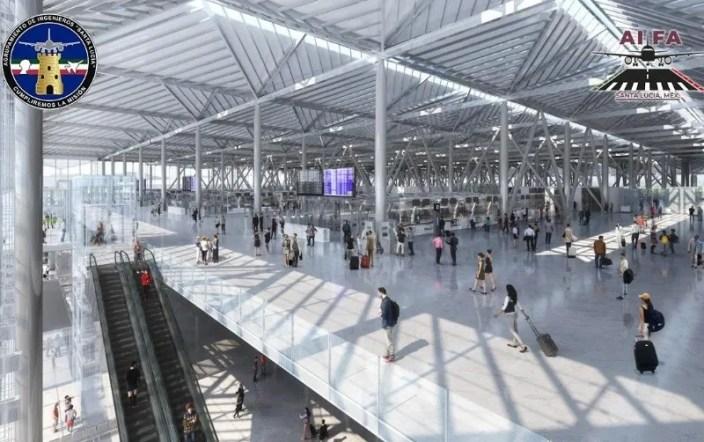 El Ejército también participa en la construcción de los principales proyectos de infraestructura de López Obrador. En la imagen, así quedará el Aeropuerto Felipe Ángeles, donde participan los militares. ESPECIAL