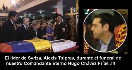 Tsipras en el entierro de Chavez