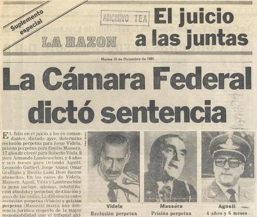 Condena del Juicio a las Juntas Militares Argentina 9 diciembre 1985 en La Razón
