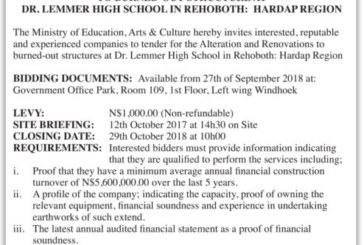 Ministry of Education Arts & Culture Invitation to Bid Alteration & Renovations to burned out structure at Dr Lemmer High School