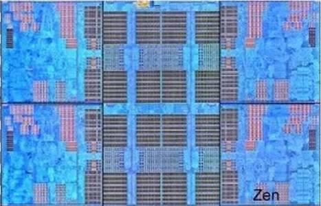 Un CCX: 4 cores Zen con sus L2 de 512 KB y la L3 compartida de 8 MB en el centro.