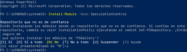 Instalación de Retpoline en Windows 10. Speculation Control