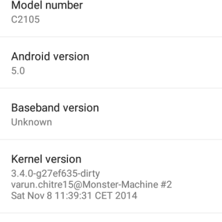 Xperia L Android Lollipop ROM About Phone