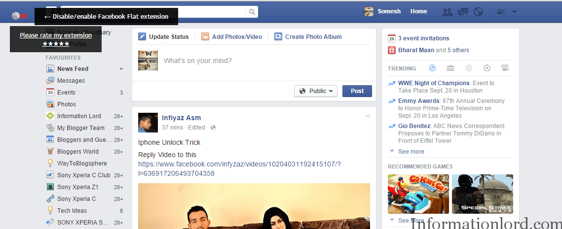 facebook flat ui enable or disable on pc,