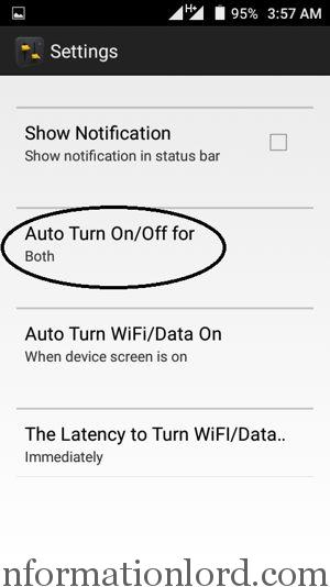 Auto Turn Data on or Off on Android app
