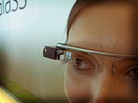 A photo of a Google Glass prototype seen at Google I/O in June of 2012