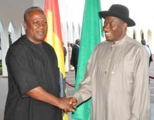 JOHN MAHAMA OF GHANA SHORTLY AFTER HIS VICTORY IN ABUJA ON VISIT TO GOODLUCK JONATHAN