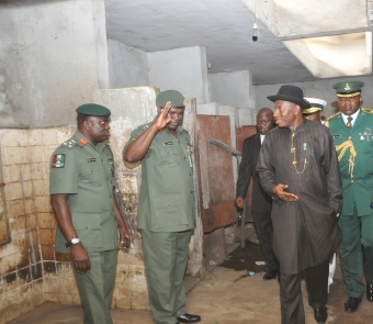 PRESIDENT GOODLUCK JONATHAN YESTERDAY AT THE POLICE COLLEGE DURING AN UNSCHEDULED VISIT
