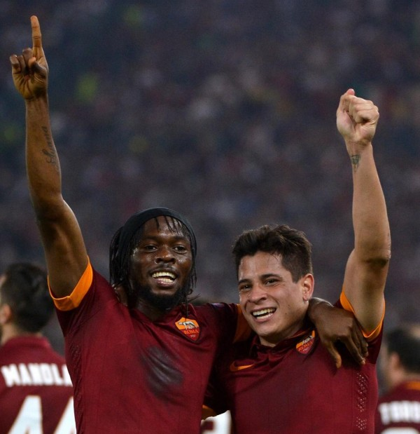 Gervinho and Iturbe Pictured After the Formers Goal for Roma in A Uefa Champions League Group Game. Image: AFP.