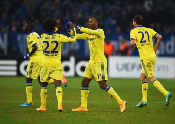 Didier Drogba Celebrates His 50 Goal in Europe Against Schalke. Image: AFP/Getty.