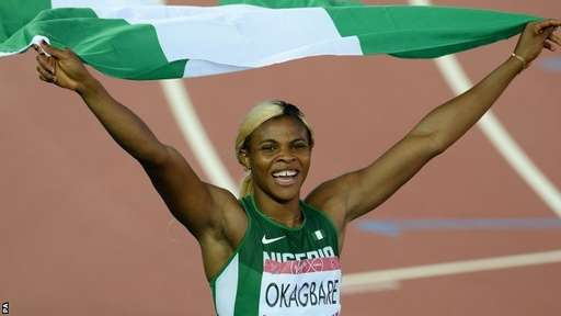Blessing Okagbare Celebrates Winning the Women's 100m in Glasgow. Image: PA.