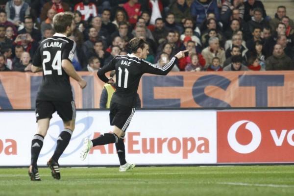 Gareth Bale Celebrates his Goal Against Almeria. Image: Getty.