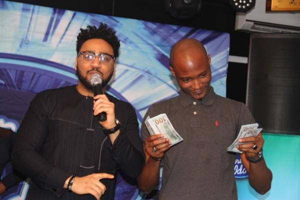 Pix 9(L-R): Nigerian Idol Season 5 hots, Ill Rhymz and winner of Etisalat Mini Press Idol Competition, Tadeniawo Collins, at the Etisalat sponsored Nigerian Idol Season 5 media launch, held in Ikoyi, Lagos, yesterday.