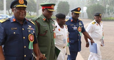 SERVICE CHIEFS AT THE END OF THE MEETING WITH PRESIDENT GOODLUCK JONATHAN AT THE STATE HOUSE, ABUJA, TUESDAY