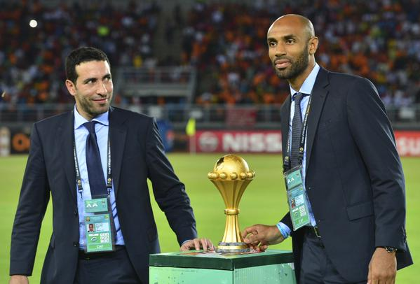 Caf Ambassadors Mohammed AbouTreka and Frederick Kanoute Brought the Afcon Trophy to the Bata Stadium Pitch.