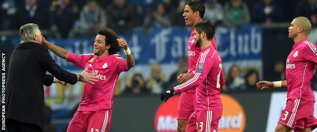 Marcelo celebrates his goal with Manager