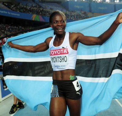Amantle Montsho Celebrates Winning a World Championships Gold in Daegu.