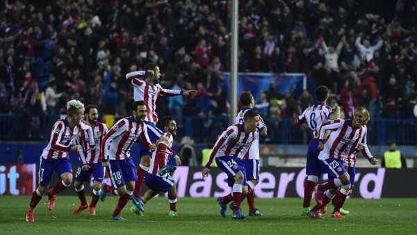 Atletico Madrid Players Celebrate Their Uefa Champions League Triumph Over Bayer Leverkusen at the Vicente Calderon. Image: Getty.