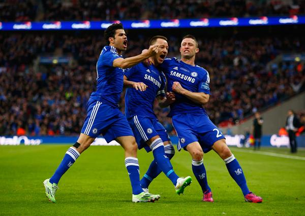 John Terry Celebrates With Garry Cahill and Diego Costa after Scoring Chelsea's Opening Goal. Image: Getty.
