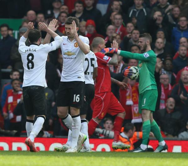 David de Gea Enraged With Martin Skrtel after the Defender Appeared to Stamp on His Legs. Image: EPA.