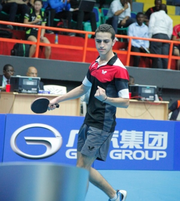 Shady Magdy Came Back from Losing the Opening Game to Seeing Off Nurudeen Hassan in the Last 16 of the U-21 Men's Singles Event, Lagos Open 2015. Image: NTTF.