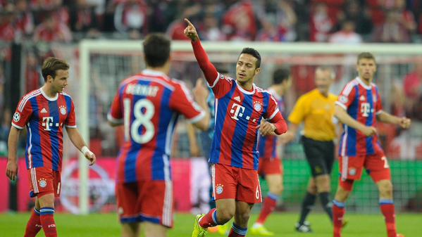 Thiago Alcantara Celebrates after Scoring Bayern's Opening Goal against FC Porto at the Allianz Arena. Image: Getty.