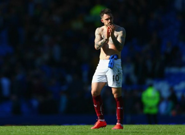 Danny Ings Applauds Visiting Supporters at the KC Stadium Following Burnley's Relegation. Image: PA.